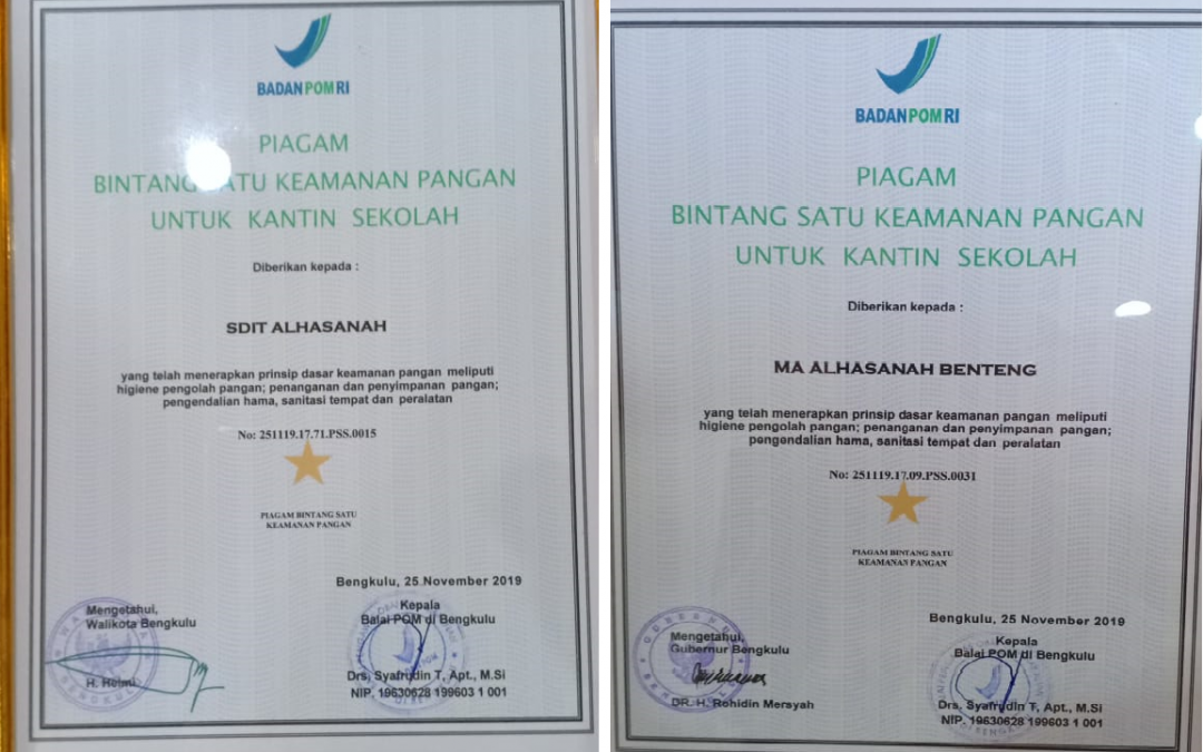 Kantin Sehat Al Hasanah Raih Piagam Bintang Keamanan Pangan dari BPOM
